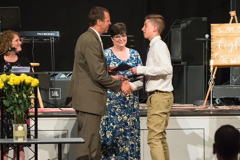 christian middle school student's graduation