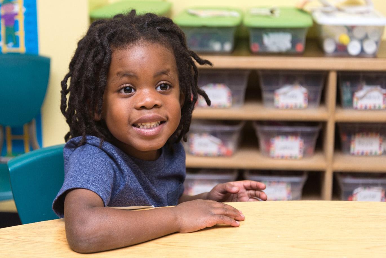 a little girl in preschool's class