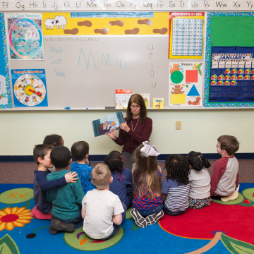 Teachers teaching kids in the best kindergarten christian school
